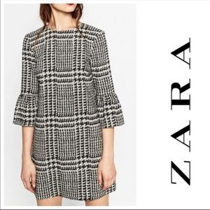 ZARA Houdstooth Black White Checker Dress Sz S
